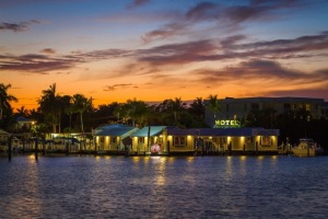 Harborside Motel view from the water at sunset